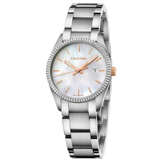 Calvin Klein Women's Alliance Stainless Steel White Mother-of-Pearl Swiss Quartz (Battery-Powered) Watch