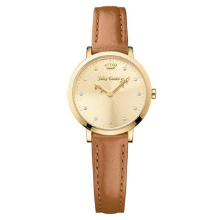 Juicy Couture Women's La Ultra Slim Leather Gold Japanese Quartz (Battery-Powered) Watch