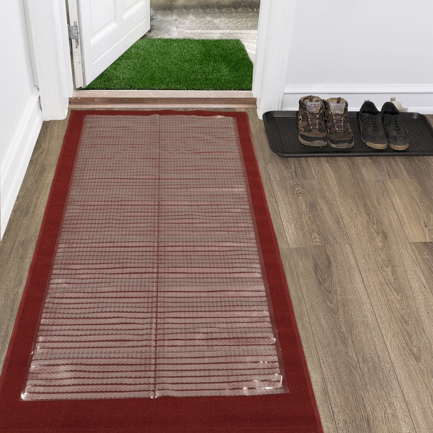Berrnour Home Multi-Grip Plastic Clear Runner Carpet Prot...