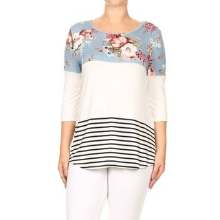 Women's Plus Size Floral Pattern Solid Striped Color Block Tunic