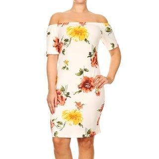 Women's Plus Size White Floral Pattern Bodycon Dress