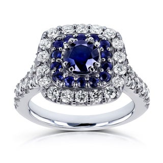 Annello by Kobelli 14k White Gold 1 7/8 CTW Double Cushion Halo Semi-split Shank Blue Sapphire and White Diamond Engagement Ring