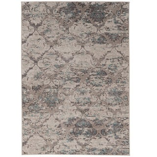Vintage Collection Trellis Beige and Grey with Blue Rug (2' x 10')