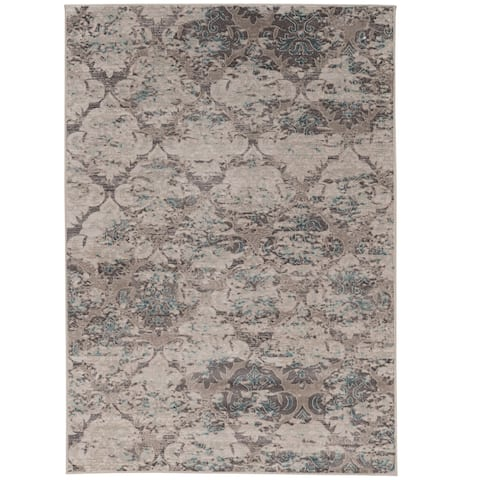 Vintage Collection Trellis Beige and Grey with Blue Rug (2' x 10') - 2' x 10' Runner