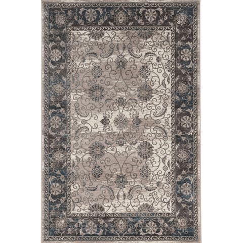 Vintage Collection Isfahan Ivory and Grey Rug (2' x 10') - 2' x10' Runner