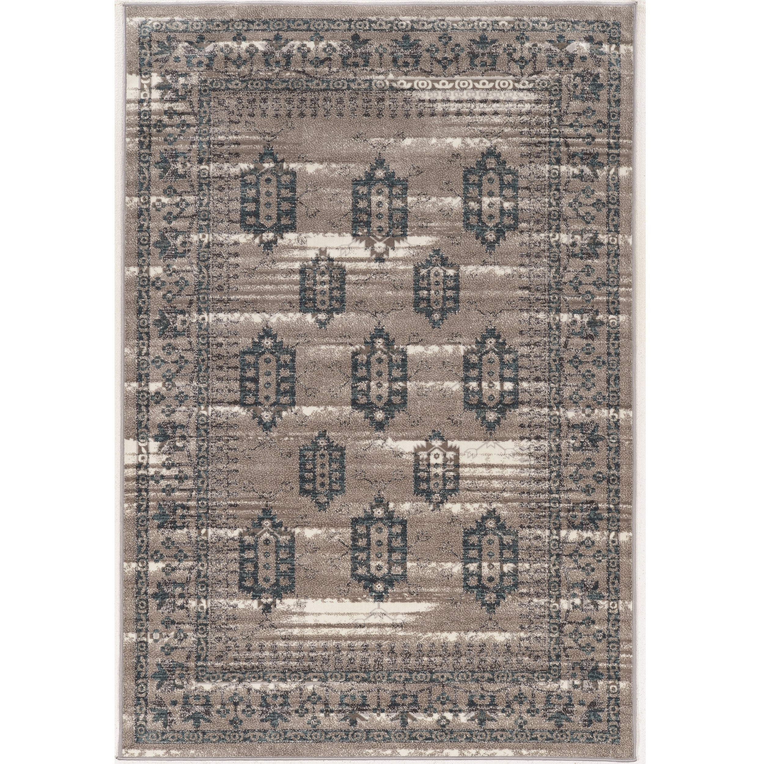 Linon Vintage Collection Hamadan Beige and Grey Rug (9' x...