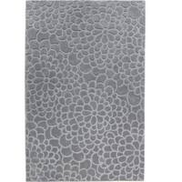 """Hand Tufted Trio Collection Floral Trace Slate Polyester Rug (1'10"""" X 2'10"""")"""