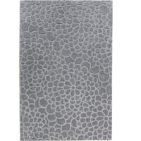 Hand Tufted Trio Collection Floral Trace GreyBlue Polyester Rug (5' X 7')