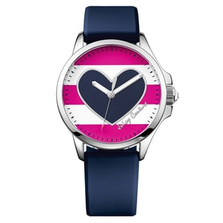 Juicy Couture Women's Fergie Silicone Pink, White and Navy Japanese Quartz (Battery-Powered) Watch