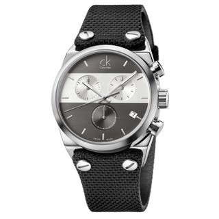 Calvin Klein Men's Eager Fabric Grey and Silver Swiss Quartz (Battery-Powered) Watch|https://ak1.ostkcdn.com/images/products/16927742/P23218136.jpg?impolicy=medium