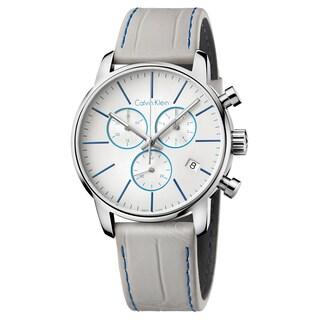 Calvin Klein Men's City Leather Grey Swiss Quartz (Battery-Powered) Watch
