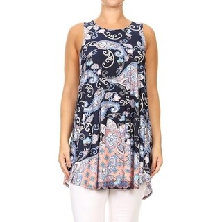 Women's Plus Size Sleeveless Paisley Pattern Top (5 options available)