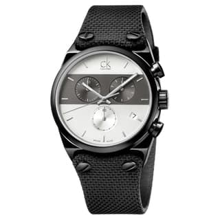 Calvin Klein Men's Eager Fabric Grey and Silver Swiss Quartz (Battery-Powered) Watch|https://ak1.ostkcdn.com/images/products/16927758/P23218142.jpg?impolicy=medium