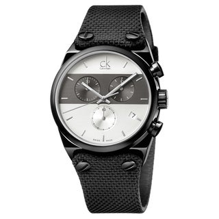 Calvin Klein Men's Eager Fabric Grey and Silver Swiss Quartz (Battery-Powered) Watch