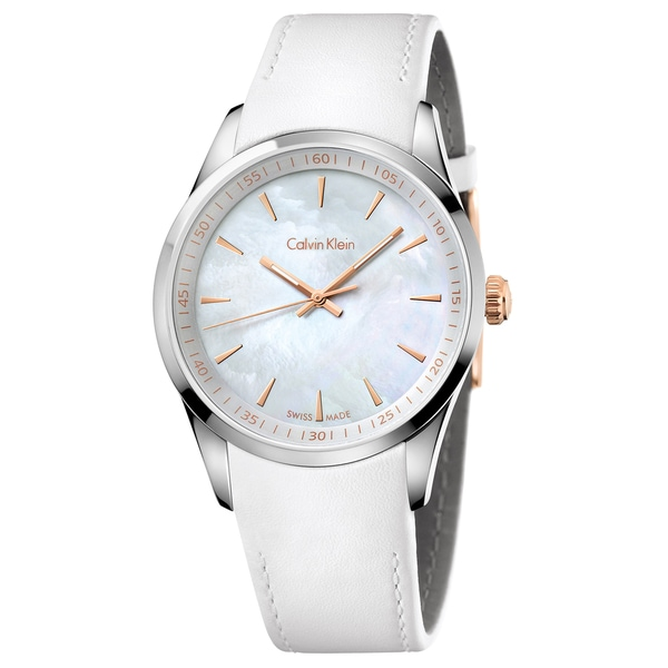 0f9663522 Shop Calvin Klein Men's Bold Leather White Mother-of-Pearl Swiss ...