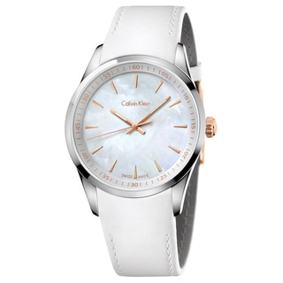 Calvin Klein Men's Bold Leather White Mother-of-Pearl Swiss Quartz (Battery-Powered) Watch