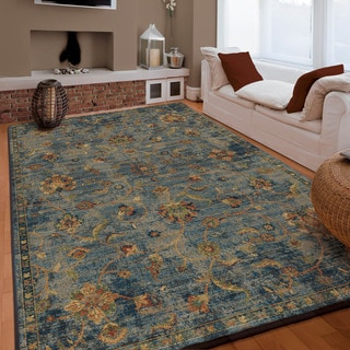 "Carolina Weavers Boho Vintage Bohemian Fields Blue (7'10"" x 10'10"")"