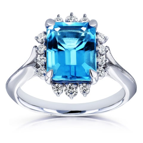 Annello by Kobelli 14k White Gold 1/5 TDW Emerald Blue Topaz and White Diamond Ring