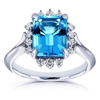 Annello by Kobelli 14k White Gold 1/5 TDW Emerald Blue Topaz and White Diamond Ring