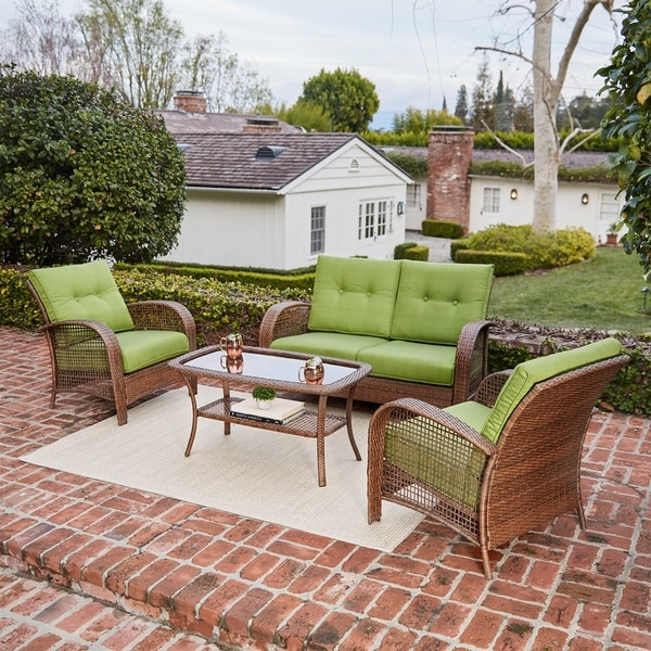 Willow Spring Outdoor 4 Piece Wicker Furniture Seating Set, With Loveseat,  Lounge Chair