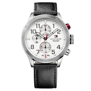 Tommy Hilfiger Men's Trent Leather White Japanese Quartz (Battery-Powered) Watch