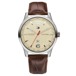 Tommy Hilfiger Men's Andre Leather Cream Japanese Quartz (Battery-Powered) Watch