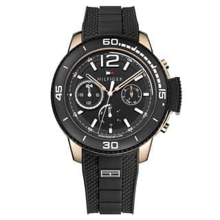 Tommy Hilfiger Men's Wyatt Silicone Black Japanese Quartz (Battery-Powered) Watch|https://ak1.ostkcdn.com/images/products/16928093/P23218465.jpg?impolicy=medium