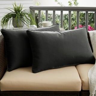 Sunbrella Canvas Black Indoor/Outdoor Corded Lumbar Pillow, Set of 2
