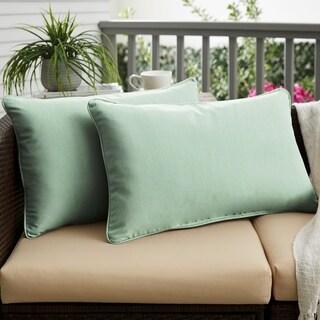 Nyles Sunbrella Spa Blue Indoor/ Outdoor 12 x 24 Inch Corded Pillow Set
