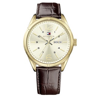 Tommy Hilfiger Men's Charlie Leather Gold Japanese Quartz (Battery-Powered) Watch