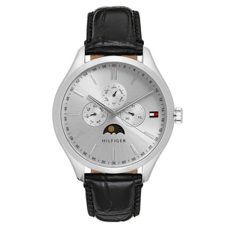 Tommy Hilfiger Men's Oliver Leather Silver Japanese Quartz (Battery-Powered) Watch