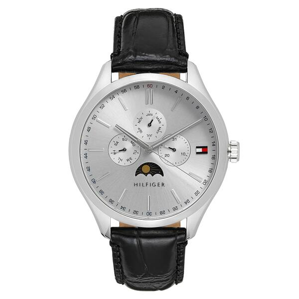 a37599144b Tommy Hilfiger Men's 1791327 'Oliver' MoonPhase Multi-Function Black Leather  Watch - silver
