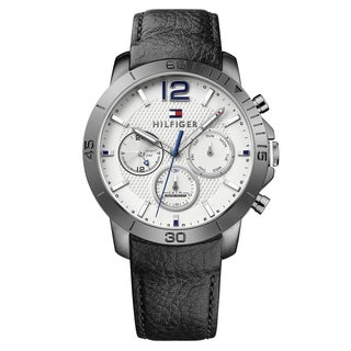 Tommy Hilfiger Men's Holden Leather Silver Japanese Quartz (Battery-Powered) Watch