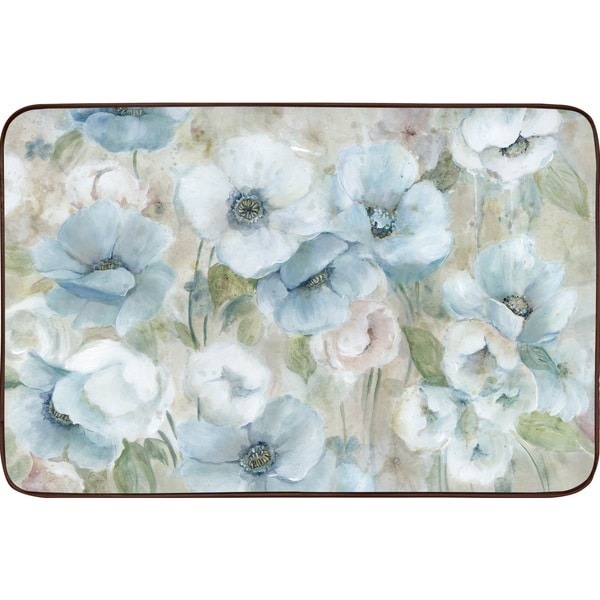 Designer Chef Series Blue Posies Oversized Anti-fatigue Kitchen Mats (2' x 3')