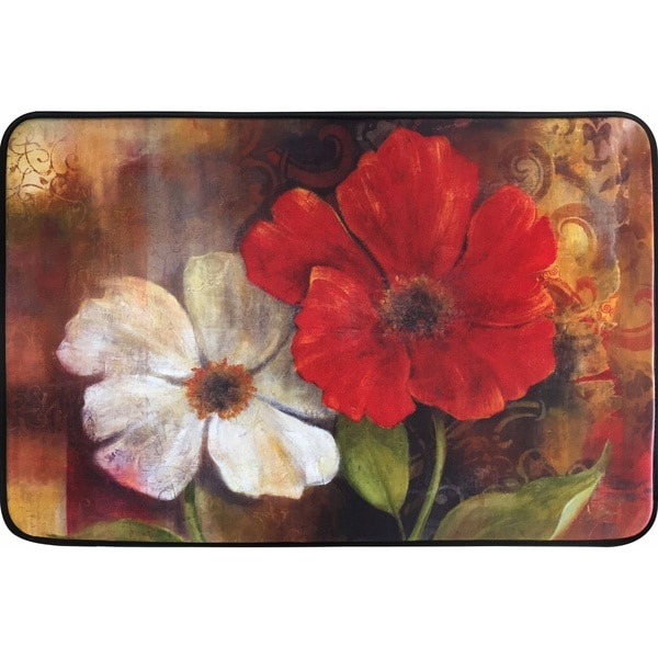 Chef Series Two Flowers Multicolored Memory Foam Oversized Antifatigue Kitchen Mat 2 X27