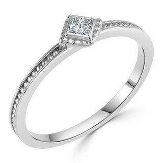 Auriya 10K Gold 0.06ct TDW Bezel Diamond Solitaire Engagement Ring