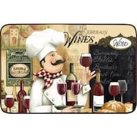 Oversized Designer Chef Series 'Vino Chef' Anti-fatigue Kitchen Mats (2' x 3') - multi