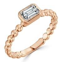Auriya 10K Gold 1/4ct TDW Bezel Diamond Solitaire Engagement Ring