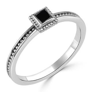 Auriya 10K Gold 1/6ct TDW Bezel Black Diamond Engagement Ring