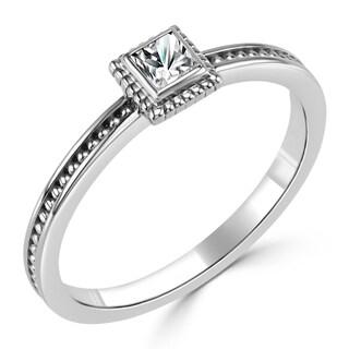 Auriya 10K Gold 1/6ct TDW Princess Cut Bezel Diamond Solitaire Engagement Ring