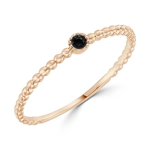 Auriya 10k Gold Ultra-thin Stackable 0.03ctw Beaded Black Diamond Accent Stacking Ring