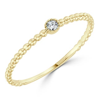 Auriya 10K Gold .03ct TDW Diamond Accent Bezel Beaded Stackable Solitaire Wedding Band (More options available)