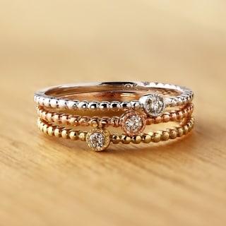 Auriya 10K Gold .03ct TDW Beaded Diamond Bezel Solitaire Wedding Band