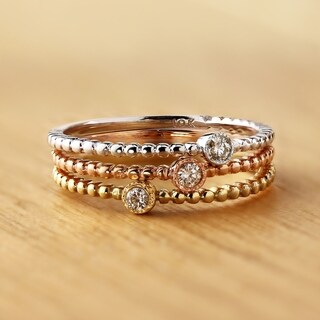 Auriya 10K Gold .03ct TDW Diamond Accent Bezel Beaded Stackable Solitaire Wedding Band