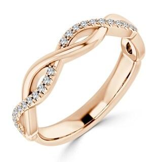 Auriya 10K Gold 1/8ct TDW Diamond Braided Fashion Wedding Band
