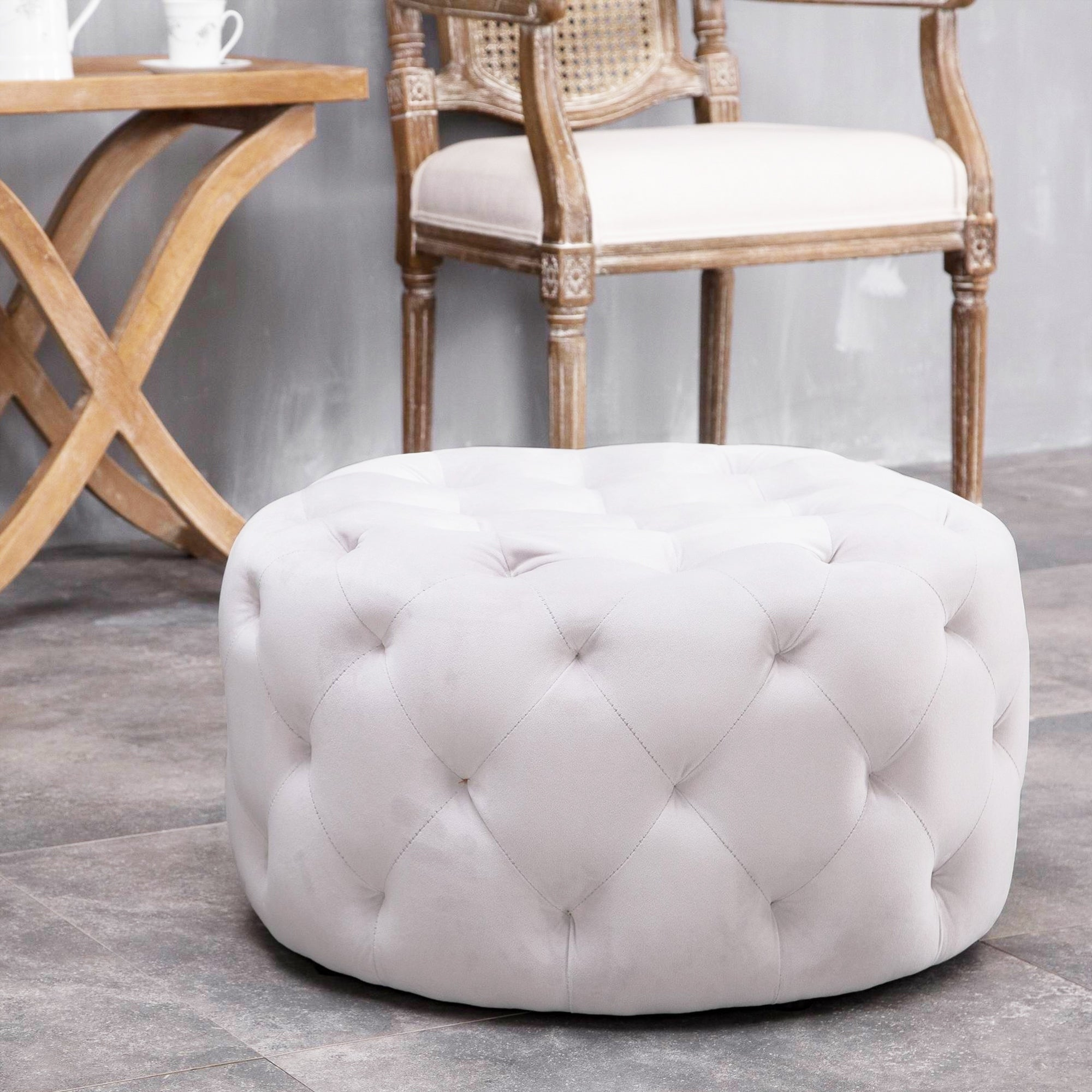 Warehouse Of Tiffany Meerna 24 Inch Round Tufted Padded Ottoman Optional Colors On Sale Overstock 16928275 Slate Grey