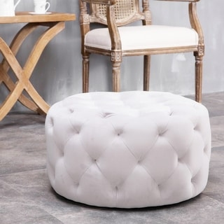Link to Warehouse of Tiffany Meerna 24-inch Round Tufted Padded Ottoman (Optional Colors) Similar Items in Living Room Furniture