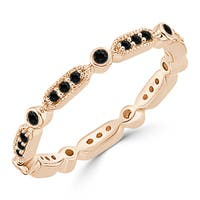 10K Gold Stackable 1/4ct TDW Petite Vintage Inspired Black Diamond Wedding Band by Auriya