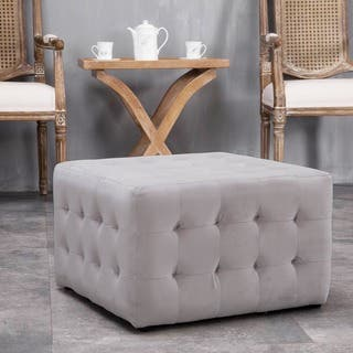 Warehouse of Tiffany Margazi Grey 23-inch Square Tufted Padded Ottoman|https://ak1.ostkcdn.com/images/products/16928288/P23218692.jpg?impolicy=medium