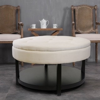 Sacnite Cream 35-inch Round Tufted Upholstery Padded Shelved Ottoman